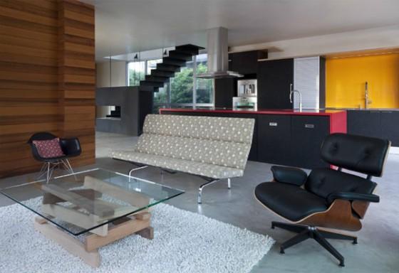 Interiores salón vivienda moderna sostenible en los Angeles