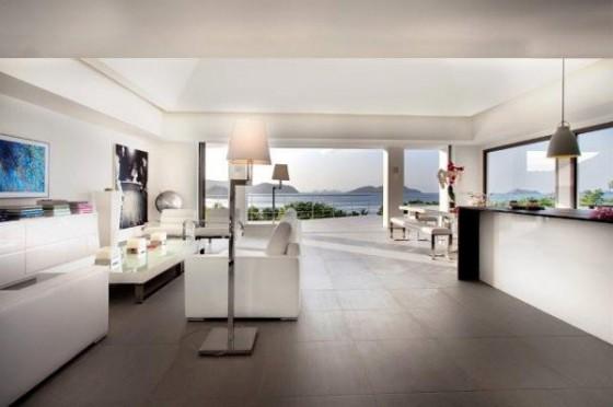 Moderna residencia con vista al mar Interiores