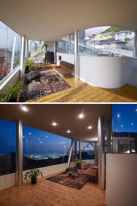 Casa en espiral interiores rampas corredores