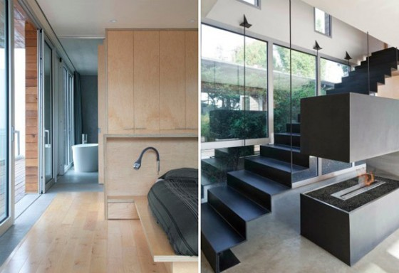 Interiores escalera vivienda moderna sostenible en los Angeles